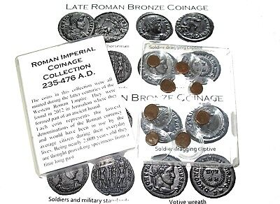 Ancient Roman Imperial coin collection in capsules 8 coins w/ ID Cards nice gift