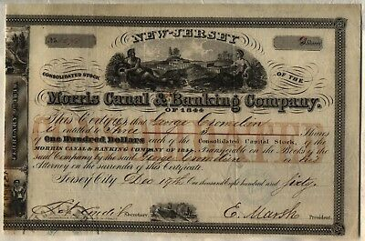Morris Canal & Banking Company Stock Certificate 1860