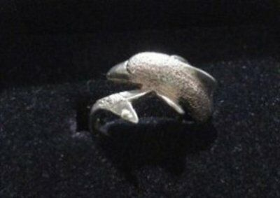 Vintage Dolphin Wrap Ring in Sterling Silver Size 6.5 - Textured