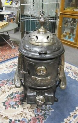 Antique Nox-All Short #22 Parlor Wood Stove Nice Nickel & Trophy