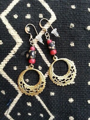 Venetian beads HOOP EARRINGS brass + antique vtg Africa Trade collectable 14K