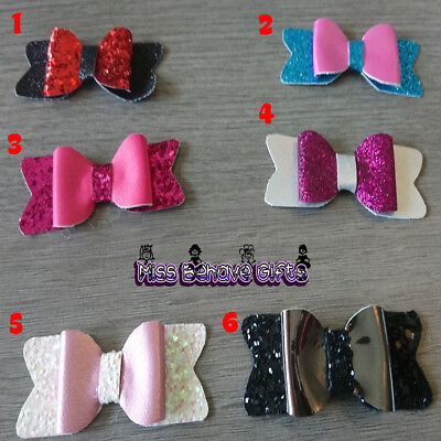 Glitter and leatherette small dog or cat collar bows