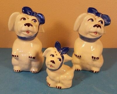 Lot Of 3 Vintage Shawnee Tooth Ache Muggsy Dog Blue Scarf Salt / Pepper  Shakers