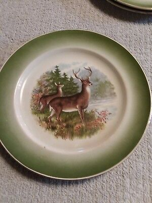 Vintage R K Beck Buffalo Pottery Deer Set