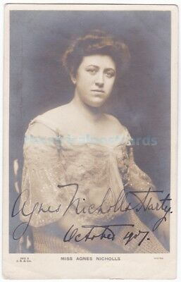 Opera soprano Agnes Nicholls-Harty. Signed postcard with message dated 1907