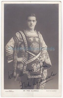 Music hall, pantomime entertainer Fred Allandale in costume. Signed postcard