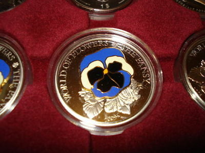 2009 COOK ISLANDS 5$ SILVER  - WORLD OF FLOWERS -THE PANSY - CoA