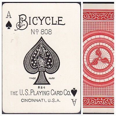 Playing Cards 1 Swap Card Antique BICYCLE 808 US8d ACE OF SPADES - TRI-TIRE No.1