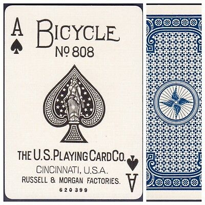 Playing Cards 1 Swap Card Antique BICYCLE 808 US8c ACE OF SPADES - RACER No.2 a