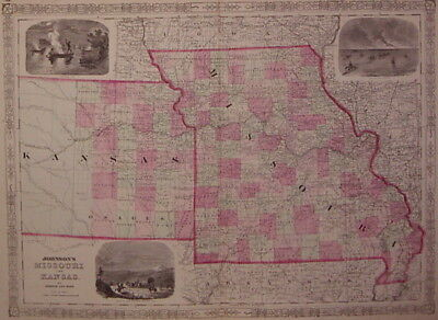 KANSAS AND MISSOURI Map Johnson & Ward 1863