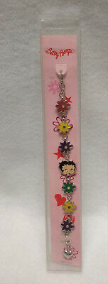 """Betty Boop 7"""" Silvertone and Multi-colored  Floral Boxed Bracelet"""