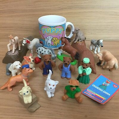 Vintage Teddy, Pony, Jungle, Kitty & Puppy In My Pocket Figures + Mug Bundle