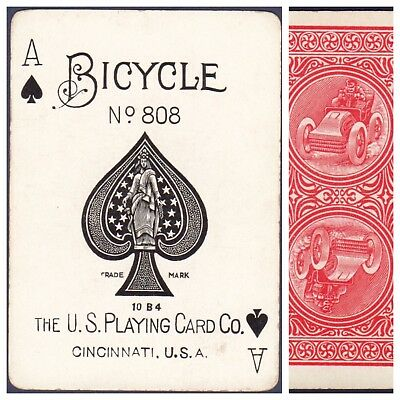 Playing Cards 1 Swap Card Antique BICYCLE 808 US8d ACE OF SPADES AUTOMOBILE No.1