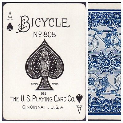 Playing Cards 1 Swap Card Antique BICYCLE 808 US8d ACE OF SPADES MOTORCYCLE No.1