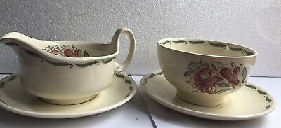Susie Cooper Tiger lily Creamer Sugar Bowl With Saucers Art Deco