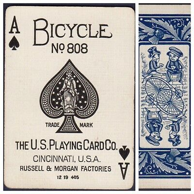 Playing Cards 1 Swap Card Antique BICYCLE 808 US8c ACE OF SPADES - THISTLE
