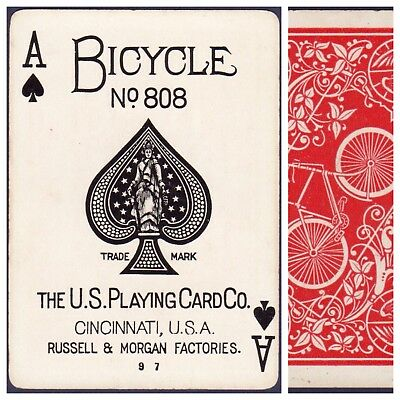 Playing Cards 1 Swap Card Antique BICYCLE 808 US8c ACE OF SPADES - EMBLEM