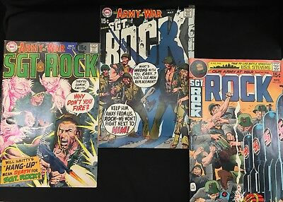 Lot Of 3 1970's Our Army At War Ft. Sgt Rock Bronze Age Comics