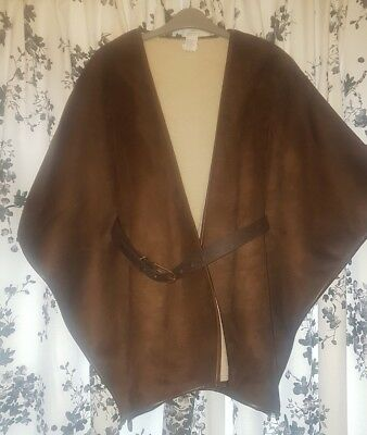 River Island faux suede shearling cape jacket coat, size S/M. BRAND NEW NO TAGS