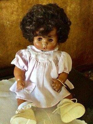 """Vintage Effanbee """"Rare"""" 18"""" Drink And Wet  Black Baby Dy Dee Doll"""