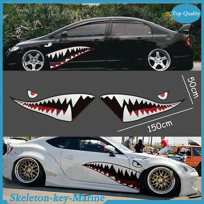 2pcs Shark Mouth Teeth Graphic Vinyl Car Sticker Decal Graphics Waterproof Cool