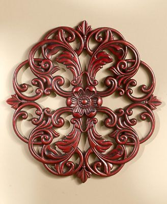 Medallion Wall Decor - Carved Wood Look Ornate Details Mahogany, Pewter, Bronze