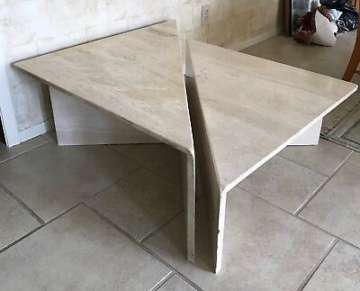 Travertine Coffee Table, Two Separate Pieces, Many Arrangements