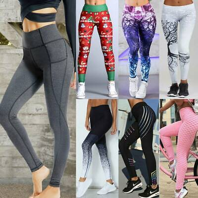 Women Yoga Gym Sports Workout Leggings Run Fitness Stretch High Waist Pants JF