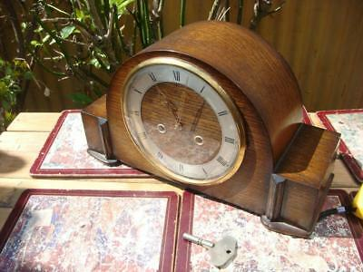 Smith Mantle Clock  Ting Tang Strike Clock With Key & pendulum