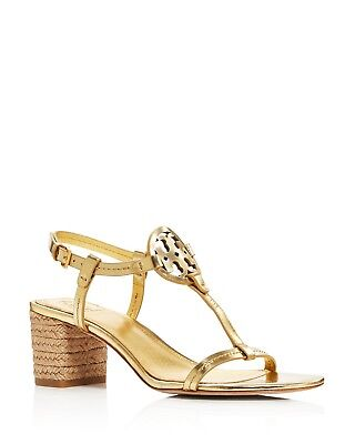 8c4311994 Tory Burch Women s Miller Leather T-Strap Block Heel Sandals Size 8.5 Gold