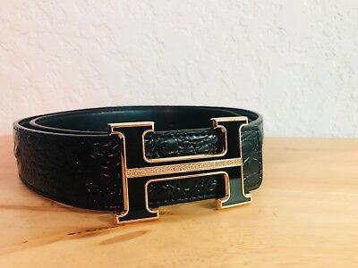 "Hermes Black Genuine Leather Belt, Black w/ Crystals ""H"" Buckle, Size 110cm 43in"