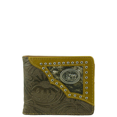 BROWN OSTRICH CROSS MENS COUNTRY WESTERN SHORT BIFOLD WALLET NEW WEST WOLF