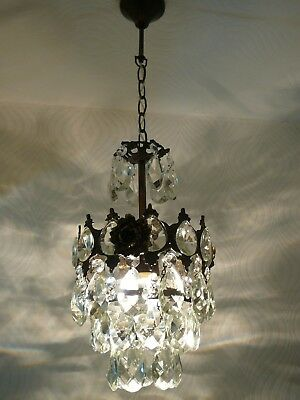 Vintage Brass and Crystal Small Basket Chandelier