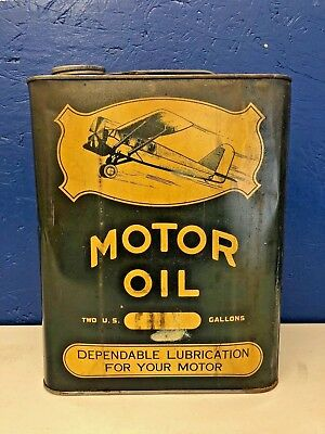 Vintage Avaiation Airplane 2 gallon Motor Oil Can Lubrication Gas Station Rare!!