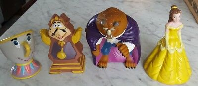 VINTAGE Beauty and the Beast Pizza Hut Puppets LOT of 4 COMPLETE SET- DISNEY 202