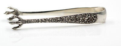 Antique S. Kirk & Son Sterling Silver Repousse Embossed Sugar Cube Tongs #1693