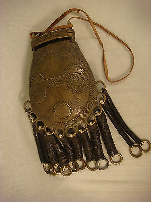 Antique Wedding Purse Brass Bronze Lid Ornate Asian Horn Button Tribal Beautiful