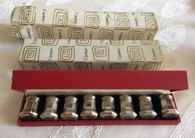 "Vintage Cartier Sterling Silver Salt & Pepper Shakers-8 Piece Set ""NEW"""