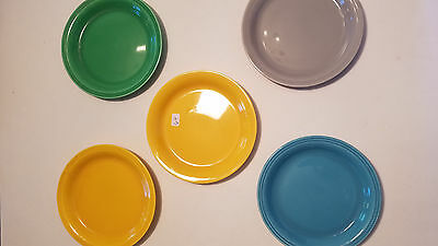 Vintage Lot of 5 Colorful Ceramic Bread and Butter Plates Mid Century 1950's