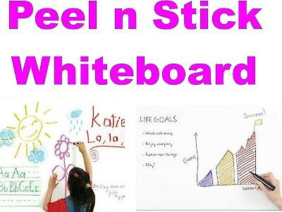 PEEL AND STICK WHITEBOARD SELF ADHESIVE 60cm X 45cm REUSEABLE WALL NOTICEBOARD