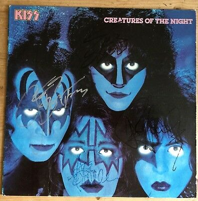 KISS  Creatures of the Night Signed Autograph, Frehley, Stanley, Carr, Simmons