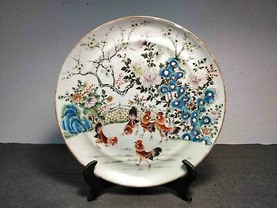 Rare Antique Chinese Porcelain Export Plate Famille Rose Roosters Pattern Xix