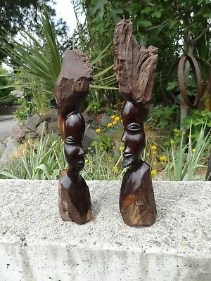 Lot Of 2,makonde/.mpinga,vintage..,hand Carved ,wood,sculpture Of Man And Woman,