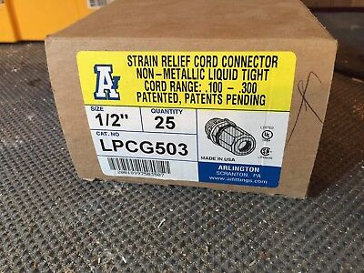 "38-Arlington LPCG503 1/2"" Strain Relief Cord Connector Non-Metallic Liquid Tight"