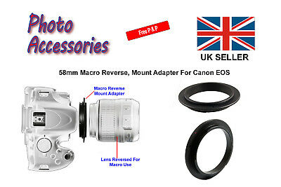 58mm Macro Reverse Adapter Ring (Metal) For Canon EOS Film or Digital SLR Body