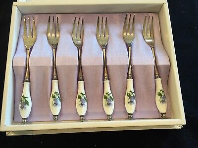 boxed set of 6 silver plated and ceramic forks (desert)