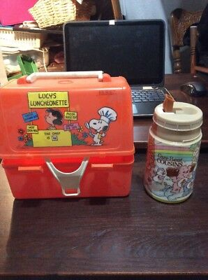 Vintage 1960s Peanuts Orange Plastic Lunchbox With Thermos