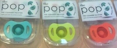Doddle & Co. Pop A Cleaner Pacifier 3 Individual Packs, Teal, Lime, Coral