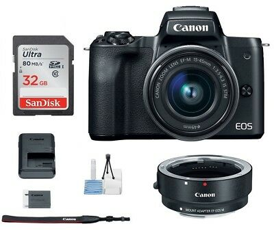 Canon EOS M50 Mirrorless Digital Camera with 15-45mm Lens (Black) - Canon Dealer
