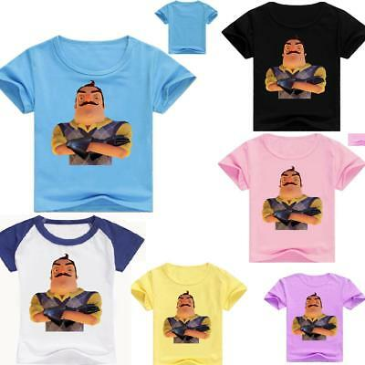 Kids Boy hello neighbor Cool Funny T-shirt Top tshirt party costume T shirt gift
